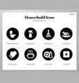 household icons rounded solid pack vector image