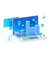 isometric 3d mobile city in laptop with point vector image vector image