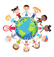 kids love globe conceptual groups children vector image