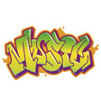 music word in graffiti style vector image vector image