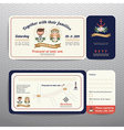 Nautical ticket hipster bride and groom wedding vector image vector image