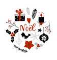 noel merry christmas on french circle vector image vector image