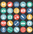 pet icons set on color circles black background vector image