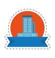 real estate building emblem ribbon cut line vector image vector image
