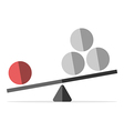 Red sphere outweighing many vector image vector image