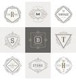 set monogram flourishes logo vector image vector image