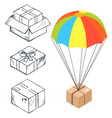 sketch box with parachute for delivery vector image