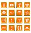 summer rest icons set orange vector image vector image