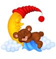 The teddy bear sleep on the moon vector image vector image