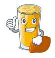 thumbs up lassi mango in a cartoon bottle vector image vector image
