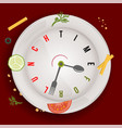 time for healthy vegan lunch conceptual vector image vector image