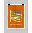 Twice a folded orange poster with clamps