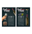 vertical poster wine tasting lettering bottle vector image vector image