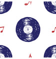 vinyl record vintage seamless pattern hand drawn vector image vector image