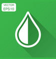 water drop icon in flat style raindrop with long vector image vector image