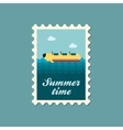 Yellow banana boat ride stamp Summer Vacation vector image