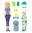 young blonde girl with stylish summer clothes set vector image vector image