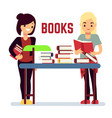teenager girl reading books - self-education vector image