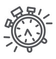 alarm clock line icon time and clock watch sign vector image vector image