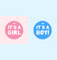 baby shower stickers its a boy card its a girl vector image vector image