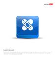 bandage icon - 3d blue button vector image