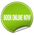 Book online now round green sticker isolated on