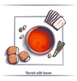 borsch with bacon vector image
