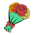 bouquet roses icon cartoon vector image