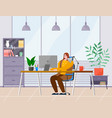 business woman at desk is working on the vector image vector image