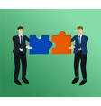 businessman connect two piece puzzle concept vector image vector image