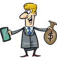 businessman with tablet and money vector image vector image
