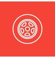 Car wheel line icon vector image