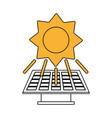 color silhouette image yellow solar energy panel vector image vector image