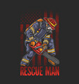 cool fire fighting rescue man use chain saw illust vector image vector image