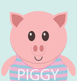 Cute piggy cartoon flat icon avatar vector image vector image
