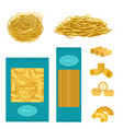 different types of pasta whole wheat corn rice vector image vector image
