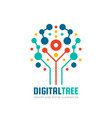 digital tree - logo design computer net vector image vector image