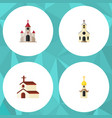 flat icon building set of traditional structure vector image vector image