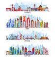 florence dubai new york and istanbul backgrounds vector image