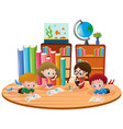 four kids learning in classroom vector image