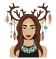 girl with deer ears and vector image vector image