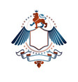 graphic winged emblem created with brave lion vector image vector image