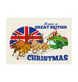 Great British Christmas Santa Reindeer Doube vector image