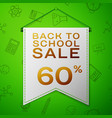 grey pennant back to school sale sixty percent vector image vector image