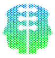 halftone blue-green dual head interface icon vector image vector image