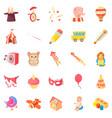 happy childhood icons set cartoon style vector image