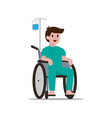 happy male patient smile on his wheelchair with vector image vector image