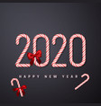 happy new year greeting card candy cane number vector image vector image