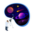isometric concept of astronomer looking through vector image