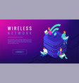 isometric wireless network landing page vector image vector image